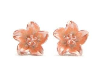 Peach Lily Earrings - Retro Resin flower earrings - Rockabilly, Pinup, Vintage Style - Large flower stud earrings