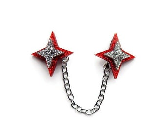 Red Star Sweater Clip, Retro Acrylic Cardigan Clip, Atomic 50s Collar Clips, Rockabilly Statement Jewelry, Vintage Fashion Accessories