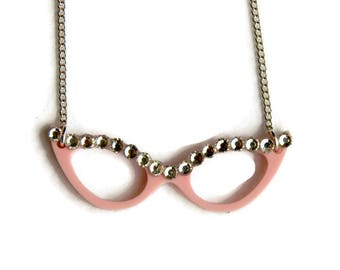 Pink Cat Eye Glasses Necklace, Retro Eye glasses charm pink with rhinestones, Retro, Rockabilly, 1950s Women's Jewelry