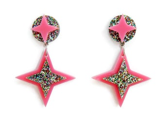 Pink Star Laser Cut Earrings, Vintage Inspired Pinup Jewelry, Unique Plastic Earrings, Large Statement Earrings, Hypoallergenic Nickel Free