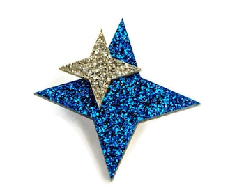 "Retro Star Celestial Brooch Pin, Blue and Silver Atomic Starburst Brooch, Vintage Inspired Plastic Brooch, Rockabilly Costume Jewelry, 2""x2"""