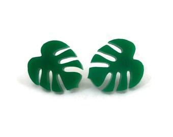 Monstera Stud Earrings - Green Tropical Leaf Earrings - Laser Cut Acrylic Nickel Free Earrings - Retro, Summer Fashion, Rockabilly, Pinup
