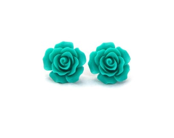 Turquoise Rose Earrings - Large 20mm - Retro, Rockabilly, Pinup Flower Jewelry - Resin Studs - Women, Girls