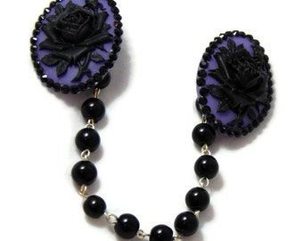 Sweater Clip - Purple and Black Rose Cameo With Black Acrylic Pearls, Retro Rockabilly Pinup, Sweater Guard, Cardigan Clip, Sweater Clasps