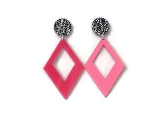 Pink Diamond Shaped Dangle Earrings  -Rainbow Glitter - Retro, Mod, Vintage Style  - Laser Cut Acrylic - Geometric Drop Earrings