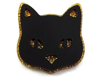 Black and Gold Cat Brooch, Laser Cut Acrylic Cat Pin, Retro Rockabilly Pinup Vintage Style Jewelry Gift for Her