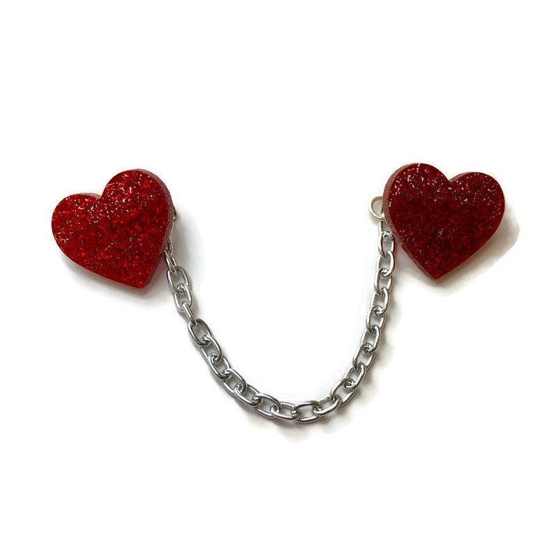 Vintage Style Jewelry, Retro Jewelry Red Heart Sweater or Cardigan Clip Glitter Acrylic Heart Sweater Guards Vintage Inspired Collar Clips Retro Rockabilly Pinup Accessory $18.00 AT vintagedancer.com