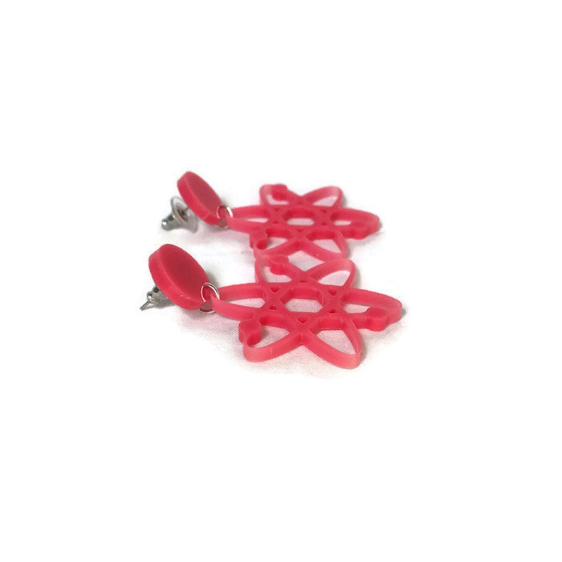 Atomic Rockabilly Science Pink Atom Dangle Earrings 50s Women/'s Plastic Dangle Earrings Retro Pinup Jewelry