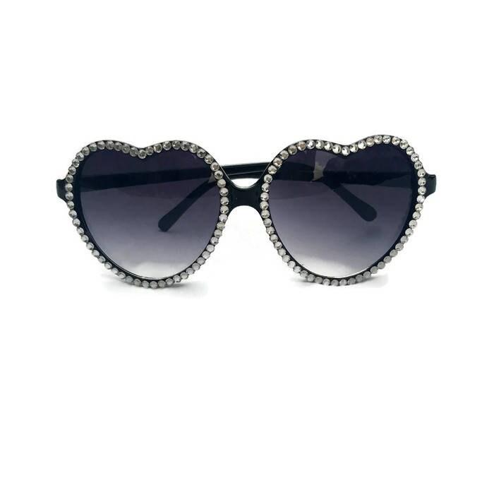 cf4e6c68fdd Black Heart Shaped Sunglasses with Rhinestones