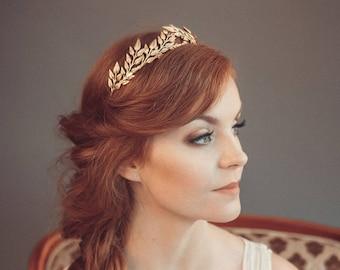 Gold leaf headband - Greek goddess headband - Grecian tiara - Wedding headband - Bridal tiara - Bohemian head piece