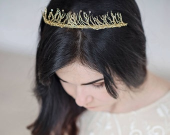Gold tiara with crystals - Wedding crown - Gold bridal tiara - Gold wedding tiara - Gold crown