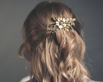 Gold hair comb - Bridal headpiece - Wedding hair comb - Bridal hair comb - Gold hairpiece