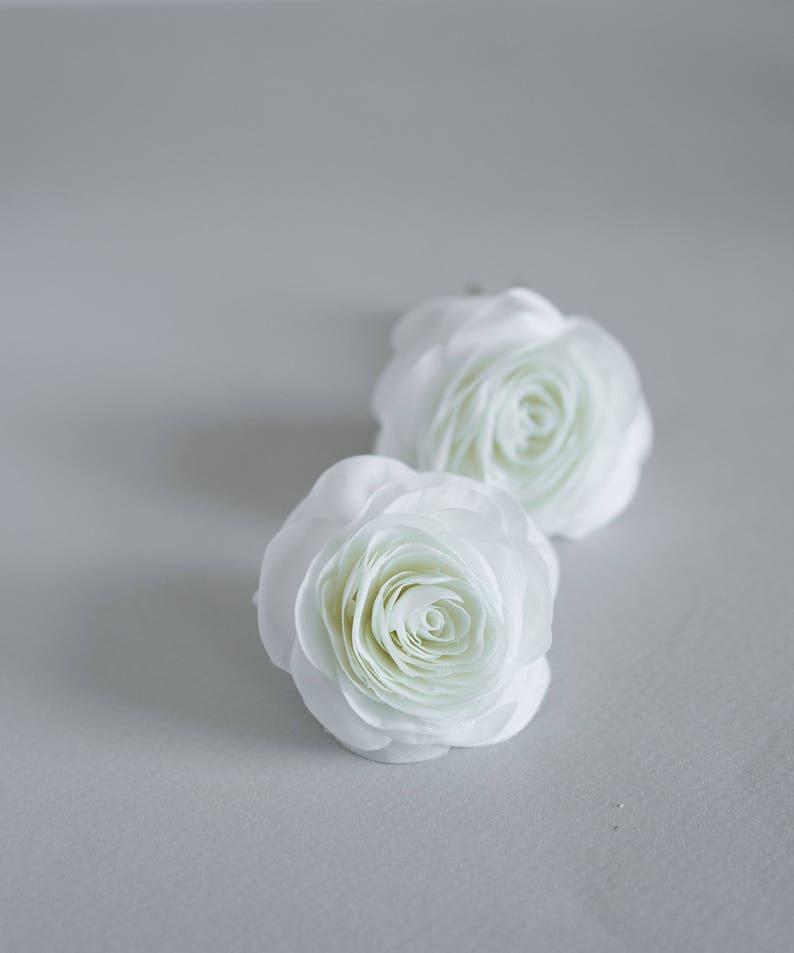 Wedding hair accessories Bridal hair piece white or ivory Flower hair clip set of 2 Rose hair pins Bridal rose hair flowers