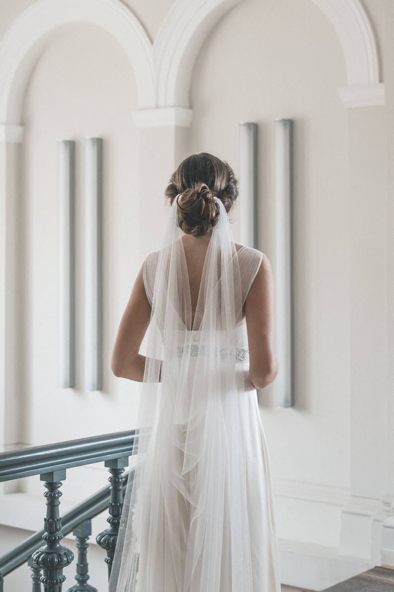 Draped veil  Wedding veil  Boho veil  Soft English tulle image 0