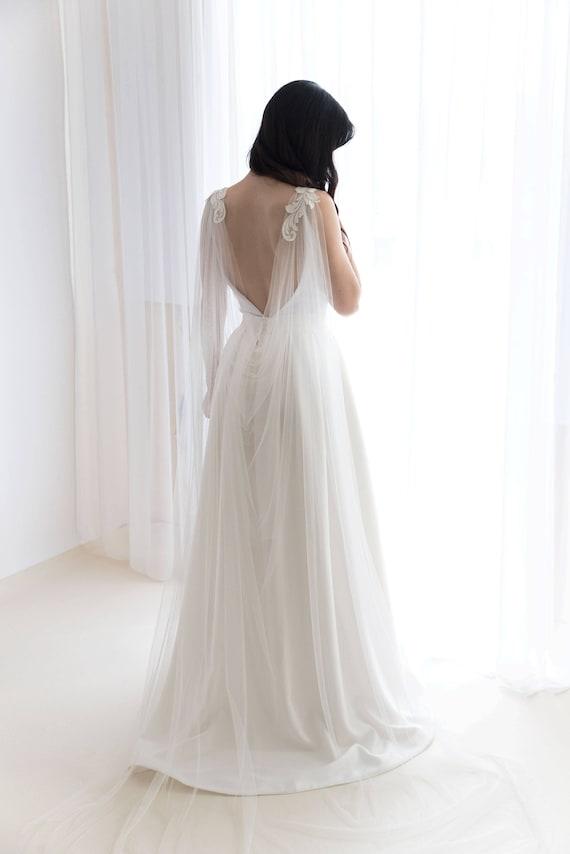 Cape Veil With Lace Bridal Cape Veil Wedding Cape Veil Etsy