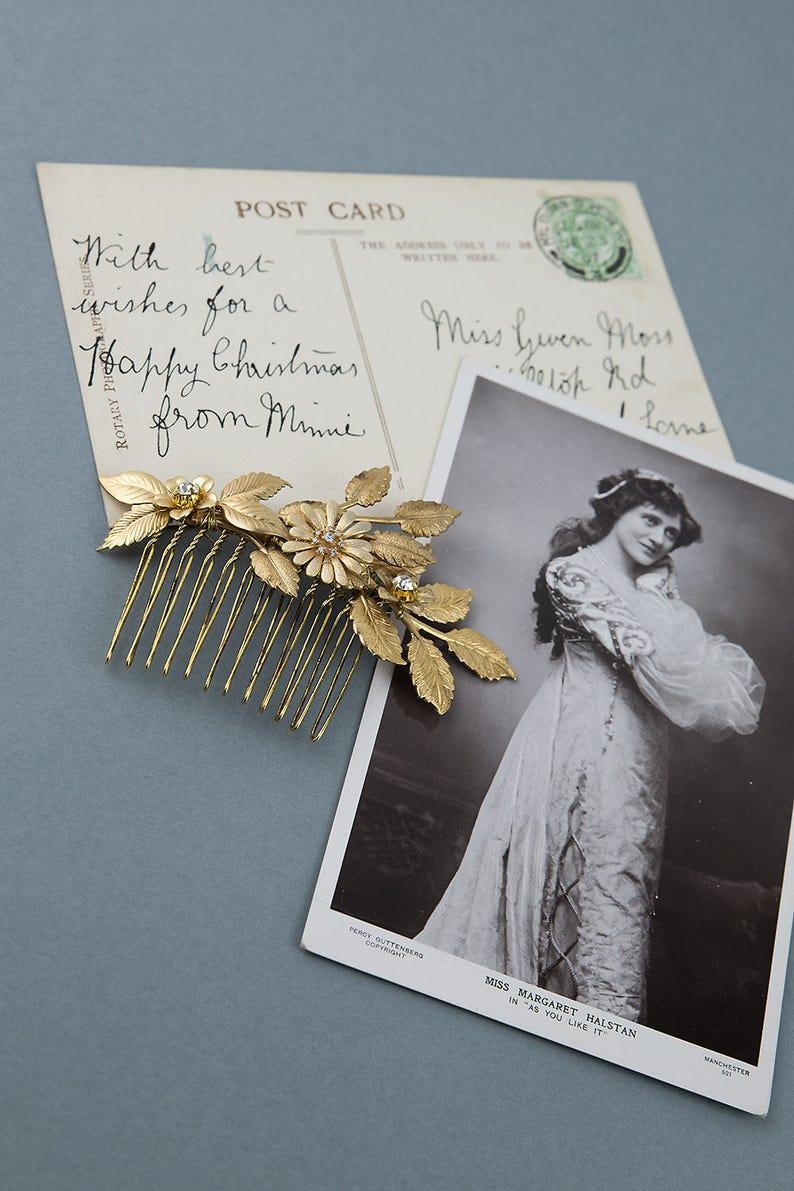 Floral hair comb Silver hair comb Gold bridal hairpiece Gold hair comb Wedding headpiece Wedding hair piece