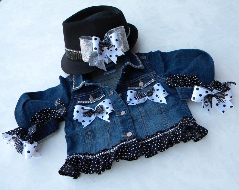 Rock n Roll Pageant 5 Piece Set Includes:  Poofy Skirt Cami Fedora Hat with Bow Blinged Out Denim Jean Jacket Legging