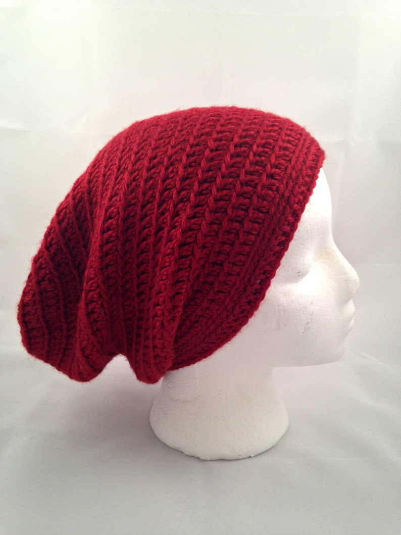 Red Slouchy Beanie Baggy Hat Slouchy Hat Mens Hat FREE SHIPPING Crochet Slouchy Hat Ready To Ship Womens Hat Hipster Slouch Hat