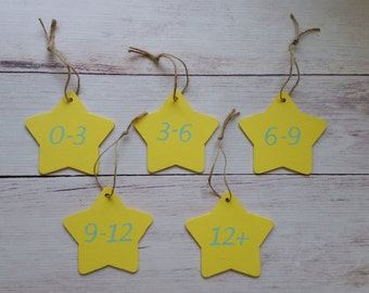 Star Baby Closet Tag Organization - Infant Clothing Divider - Month Size Separators - Baby Shower Gift - Baby Clothes Tags