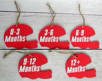 Football Helmet Tags - Baby Closet Organization - Infant Clothing Divider - Month Size Separators - Baby Shower Gift - Baby Clothes Tags