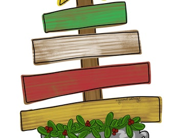 Christmas Tree Door Hanger Downloadable File Printable Etsy