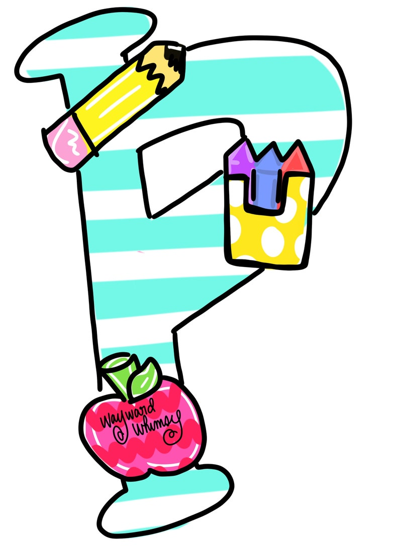 Letter P with School supplies whimsical font Door Hanger downloadable file printable template