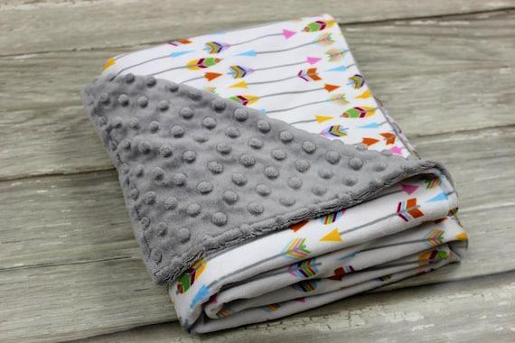 Minky Blanket ~ Pink Minky Dimple Dot Baby Blanket Pink Arrow Double Minky Baby Blanket ~ Arrow Baby Blanket Double Minky Baby Blanket