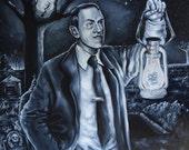 H.P. Lovecraft in a cemetery Portrait