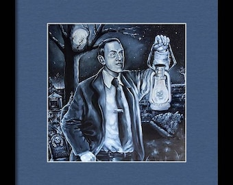 H.P. Lovecraft in a Cemetery (Unframed) Print