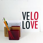 SALE Velo Love Screen Printed Poster - 10x8 - Typography - Red and Black - Bicycle Love
