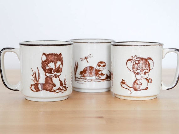 Wildlife Animal Mugs Set Of Three Racoon Turtle Mouse Cute Etsy
