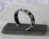 Nine stone turquoise cuff bracelet