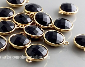 4 Earring charm Faceted Onyx glass Earring Charm Pendant 18k Gold plated over Brass jewelry making Lead free Nickel free- FGC - 006