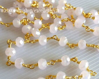 28% off Wire Wrapped Beaded Chain 24k gold plated Rosary chain Rose quartz color faceted beads size 4*6 jewelry making-ARC-010(3 feet)