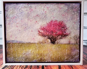 Cherry Tree Photograph, En-caustic Photography Art, Encaustic Art, Whimsical, Spring Time, Framed, Home Decor, Wall Decor, Ready To Ship