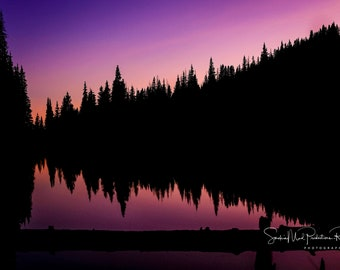 Sunset, Canvas Print, Silhouette, Tree Silhouette, Tree Reflection, Heart Beat of the Earth, Mountain Music, Purple, Violet, Wall Decor