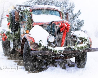 Holiday Truck Canvas Print, Holiday Truck, Old Truck Photograph, Winter Truck Scene, Holiday Wall Decor, Country Christmas, Holiday Wall Art