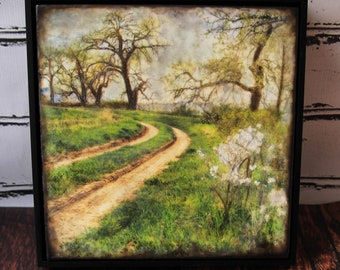 Springtime Photograph Art,  Spring Photo Encaustic Art, The Road To Spring, Country Roads,  Green, Flower Wall Decor, Ready To Ship