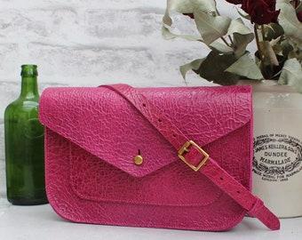 Satchel, pink bag, messenger bag, pink shoudler bag, dark pink