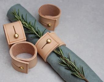 Natural Leather Napkin Ring Set