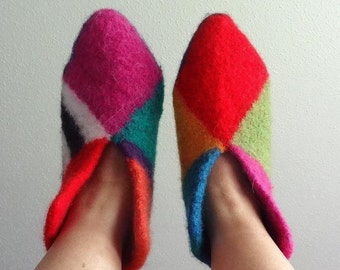 Whimsical Wool Felted Boot Style Slippers - US Woman 6 to 7