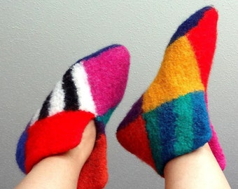 Whimsical Wool Felted Slippers - US Woman 7 to 8