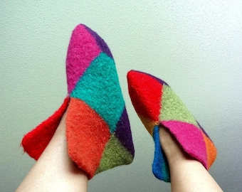 Whimsical Wool Felted Boot Style Slippers - US Woman 9 to 10