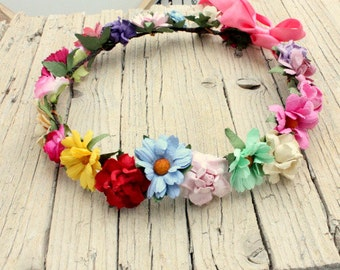 CAROUSEL - Crown Halo Floral Crown , Flower head wreath Flower Crown, multicolor headband, festival crown Summer Retro halo Daisy crown Boho