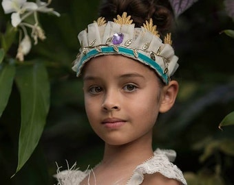 HAZEL GRACE - Woodland Crown Gold Headpiece, Lace crown headband, photo prop, birthday crown ruffle Headband, Headpiece, feather Crown