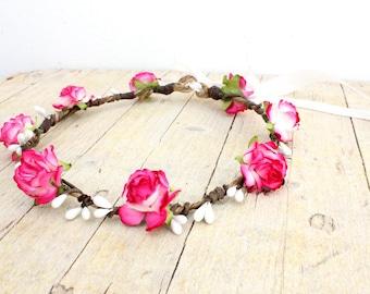 DANICA Fuchsia Headdress - Rose Flower Girl Crown, Flower Girl Flower Crown, Pink White Fuchsia, Flower Girl Circlet Headband, Bohemian halo