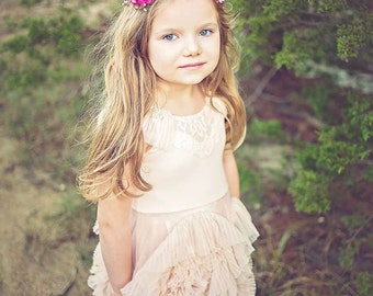 ESME Pink crown - Whimsical bridal pink halo Wreath for Flower Girl Fairy Headdress floral headband Woodland Wedding Birthday photo prop