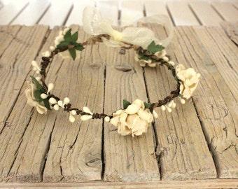 CHRYSANTHE Cream - Country Bride Head wreath crown flowers Flower crown Hair flower Hippie Headband, Bohemian Wreath Vintage baby halo