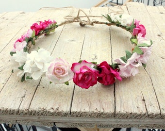 FELICITY Bohemian Flower Crown - Rustic Wreath Headband Hair halo Hairpiece, crown, halo, tiara Pink and white shades Birthday flower girl