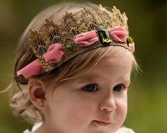 RUBY - Fantasy Crown Gold Headpiece, Fantasy fascinator, Velvet diamond crown, Lace crown headband, photo prop, birthday crown Headpiece